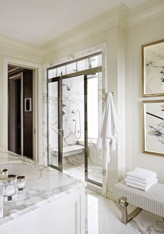 Michael S Smith - bathrooms - walk in shower, walk in shower ideas, shower transom windows, transom window shower, chrome and glass shower d...