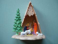 Vintage Nativity Scene Plastic AFrame