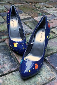 Kind of Amazing - Blue Ms.Pacman High Heels by Tilted Shoes on Etsy
