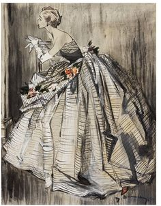 Lanvin evening gown. Illustrated by Jean Demarchy for Harper's Bazaar, c. 1952.