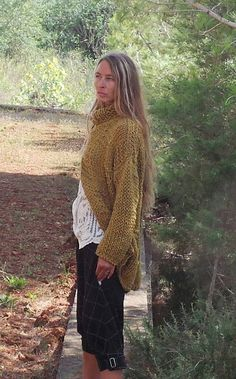 Mustard yellow chunky knit sweater READY TO SHIP by ileaiye, $190.00