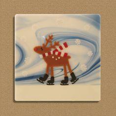 Skating Reindeer by LassenGlassWorks on Etsy, $50.00