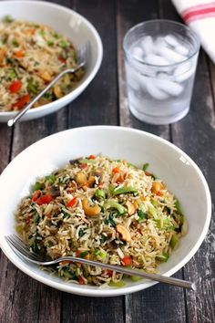 Stir Fried Rice with Vegetables and Cashews. A quick and easy stir fry with vegetables, rice and cashews.