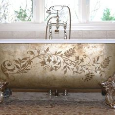 Stunning clawfoot tub with painted details done by a professional designer. Love!