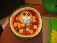 A melon baby, perfect for a baby shower and pretty simple to make.