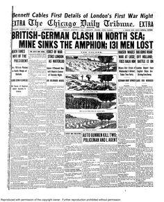 Aug. 7, 1914: British-German clash in North Sea.