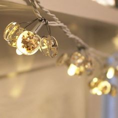Christmas glass fairy lights with gold or silver sprinkles