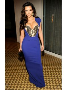 Kim Kardashian Charming Capped Sleeves Mermaid Crystals Sexy Blue dress