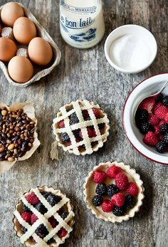 Mini Rustic Fruit Pies #pie #berries #eggs #milk