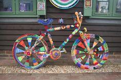 Yarn bombed bike.    photo by J best