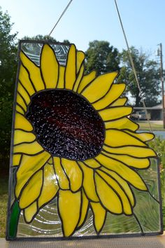 glasses, sunflowers, stained glass sunflower, stain glass