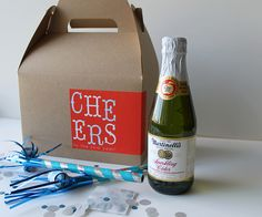 DIY- New Year's Party in a Box inspiration + PDF Label Printable.