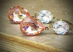 so very pretty! Vintage Rhinestone Earrings Bride Wedding Peach Pink by RewElliott.