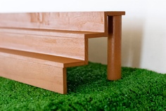 Football Bleacher - Cupcake Stand - Super Bowl Party Decorations - Brown Wood