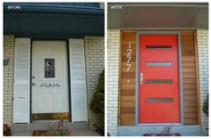 Mid-Century door before and after