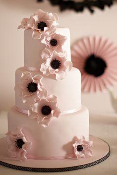 pale pink and black wedding cake