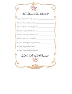Bridal shower game  who knows the bride by desi601 on Etsy, $6.00