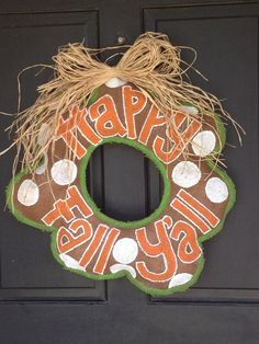 Fall burlap doorhanger. $40.00, via Etsy.