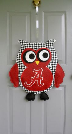 Alabama houndstooth owl burlap door and wall hanger. $35.00, via Etsy.