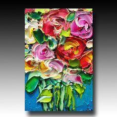 ORIGINAL Oil Painting Roses Art Palette knife Impasto RESERVED