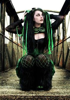 #GOTH lime neon green dreads fishnet