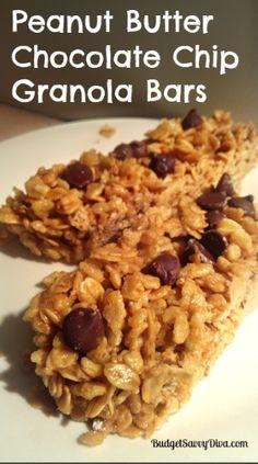Peanut Butter Chocolate Chip Granola Bars Recipe