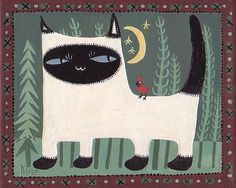 Siamese Cat with Moon and Cardinal Art Print - 8x10 Sage Green and Maroon Folk Art. Ole Blue Eyes Says Mwrow!  By Sara Pulver of 3crows.
