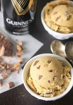 Guinness Ice Cream with Chocolate Covered Toffee Bits