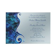 Customizable Blue and Silver Wedding Invitation by wasootch