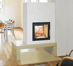 Home chemin e on pinterest wood stoves foyers and salons for Cheminee contemporaine foyer ferme
