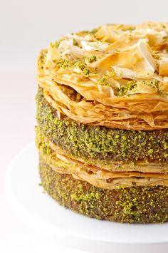 Pistachio Baklava Cake .. Turkish desserts