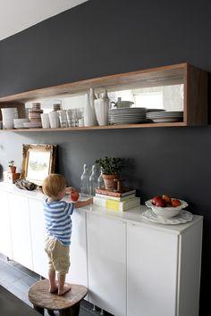 "kitchen idea: open shelf, black wall, narrow bottom shelves - along side the ""soon to be pantry wall"" perhaps"