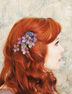 Purple flower hair clip, plum floral clip, woodland hair accessory - via Etsy. (by gardensofwhimsy)
