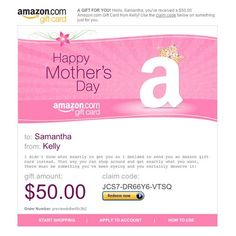 Amazon Gift Card - E-mail - Happy Mother's Day - Crown $50.00