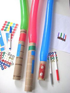 Create your own Light Saber - Balloons, paper towel rolls, then decorate.... great craft, cheap and easy!