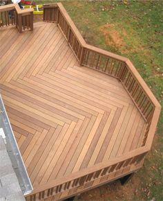 Great wood pattern in the construction of this backyard deck wood patterns, floor design, deck design, herringbone, backyard decks, decking, chevron, floor patterns, backyards