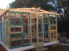 Very whimsical little greenhouse made from old cabin windows.  Cute. cabin window, greenhous, futur cabin
