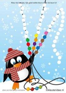 Kleur de lampjesreeks van de pinguïn, kleuteridee.nl , color the series lights , free printable.