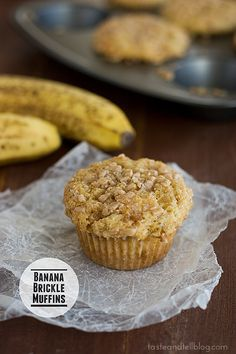 Banana Brickle Muffins | www.tasteandtellb... #recipe #banana #muffin