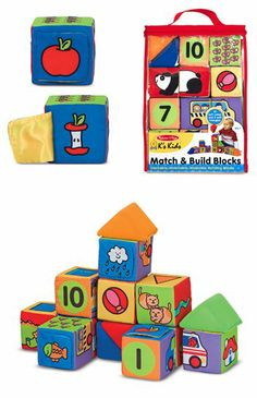 {Match & Build Soft Blocks} Build them up and knock them down--14 educational blocks combine in endless creative combinations . . . and topple with a gentle bounce that makes them safest for little ones.