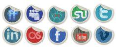design deck | Grunge Peeling Stickers Social Media Icons