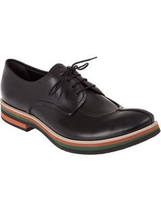 Black leather shoes from Gianni Barbato featuring a front lace up fastening, stitch detail and a multi-coloured striped sole.
