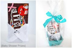 fun Baby Shower Games and Prizes! The m prize is sooo cute! Could do that with an assortment of candy bars (: or even healthy granola bars!