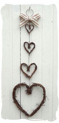 Handmade Four Twiggy Grapevine Hearts Hanger.