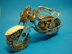 Motorcycle made from old watch parts.
