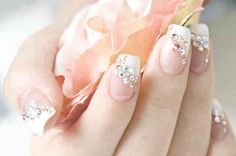 Beautiful crystal flower manicure
