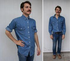 #Vintage #90s #Blue #Jean #Denim Long Sleeve #Shirt S. $20. #Men