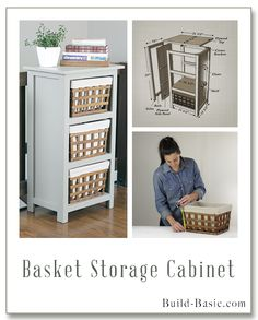 EASY HOW TO: Basket Storage Cabinet - Building Plans and Instruction by Build Basic @BuildBasic www.Build-Basic.com