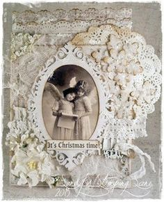 """Christmas Card created by LLC DT Member Sandra Mathis, using papers from Maja Design's """"Vintage Summer Basics"""" collection and an image from Inkido."""
