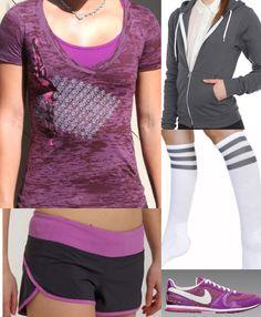 purple/gray workout gear